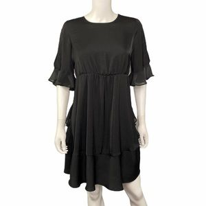 Who What Wear Black Ruffled Cold Shoulder Dress M